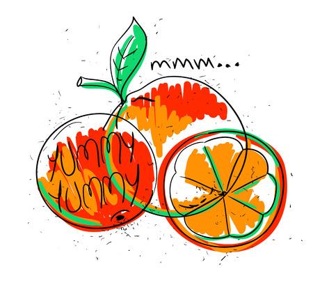 white yummy: Hand drawn illustration of isolated colorful orange fruit on a white background. Bright funny cartoon orange fruit with text yummy yummy. Illustration