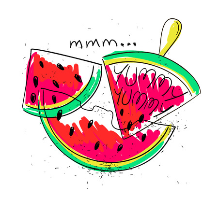 yummy: Hand drawn illustration of isolated colorful watermelon slices on a white background. Bright funny cartoon watermelon with text yummy yummy.