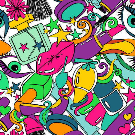 heels: Colorful cartoon psychedelic seamless pattern with abstract heap of decorative cosmetics on a white background. Beauty concept. Illustration