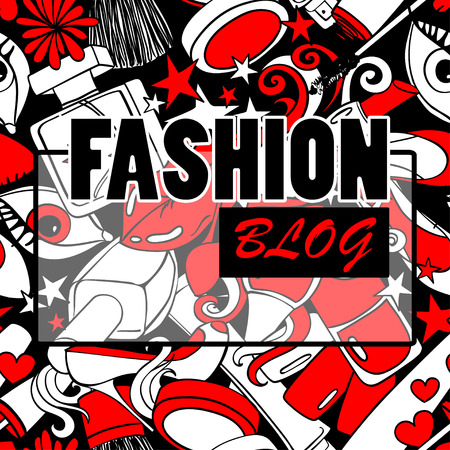 Red white and black cartoon psychedelic pattern background with abstract heap of decorative cosmetics. Beauty fashion blog concept.