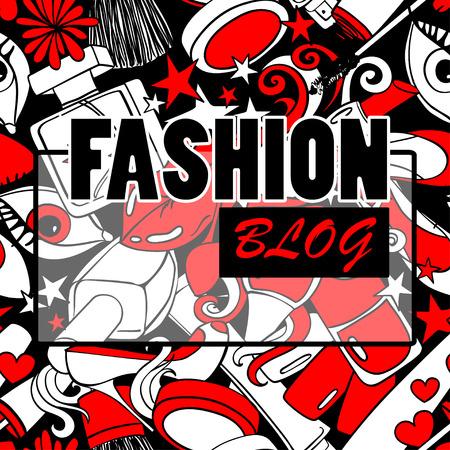 red lips: Rojo de dibujos animados en blanco y negro patrón de fondo psicodélico abstracto con el montón de cosméticos decorativos. Concepto de la belleza blog de moda. Vectores