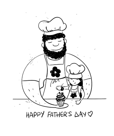 papa: Sketch funny illustration with cute little baby girl daughter and her dad cooking together. Happy Fathers day greeting card. Family concept.