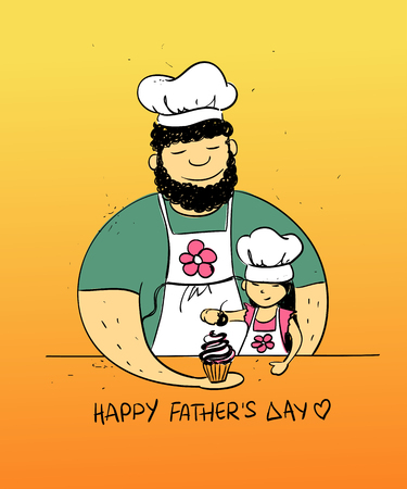 daddy: Colorful funny illustration with cute little baby girl daughter and her dad cooking together. Happy Fathers day greeting card. Family concept. Illustration