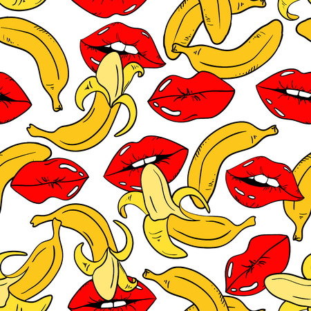 girl mouth: Seamless pattern with sexy red female lips and banana fruits on a white background.