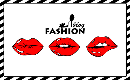 Cartoon fashion illustration with red sexy female lips. Beauty fashion blog concept. Illustration