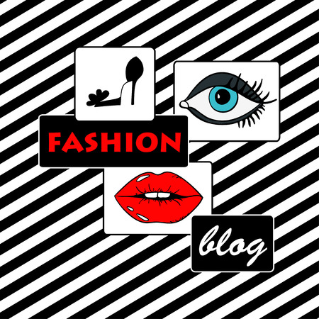 red lips: Abstract cartoon fashion illustration on a white and black stripe background. Beauty fashion blog concept.