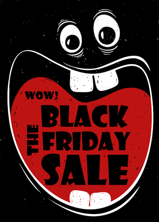 big mouth: Funny Black Friday sale poster with crazy cartoon face and screaming big mouth