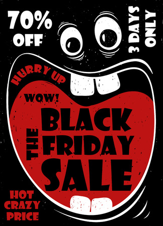 surprising: Funny Black Friday sale poster with crazy cartoon face and screaming big mouth.