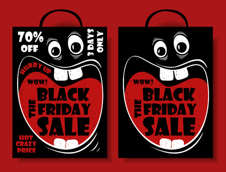 big mouth: Funny Black Friday sale set of crazy shopping bag with cartoon face and screaming big mouth. Illustration