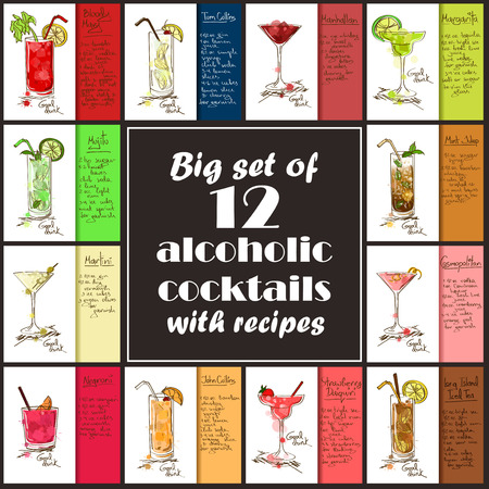 daiquiri: Set of 12 hand drawn alcoholic cocktails