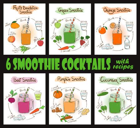 Set of 6 hand drawn sketch smoothie cocktails