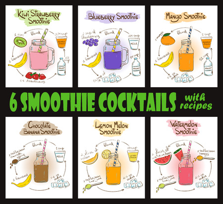 Set of 6 hand drawn sketch smoothie cocktails Ilustração
