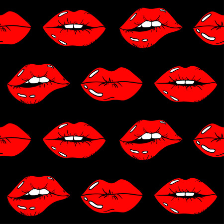 Seamless pattern of sexy glamour cartoon female lips with red lipstick on a black background. Ilustração