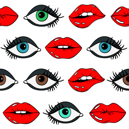 Cartoon seamless pattern of sexy glamour female lips with red lipstick and eyes on a white background. Ilustracja