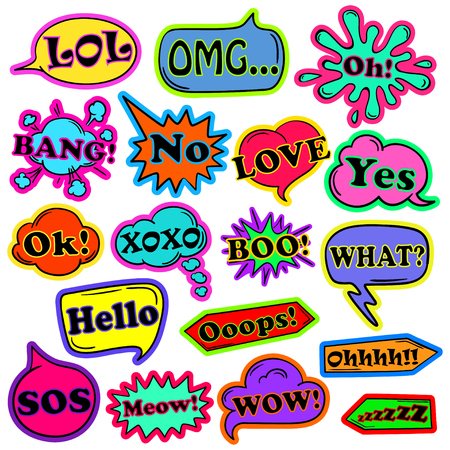 Colorful funny set of cartoon speech bubbles and stickers isolated on a white background. Talk bubbles with expressions inside.