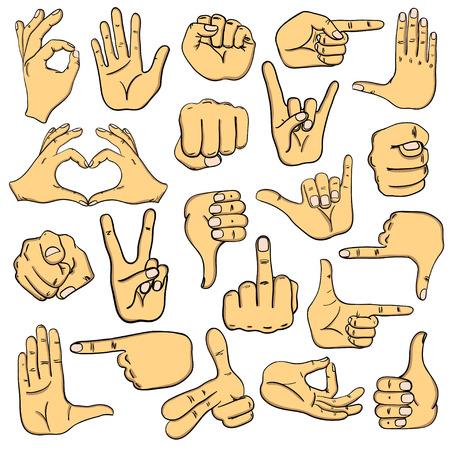 human hands: Set of cartoon human hands icons, emoji, gesture, signs and signals.