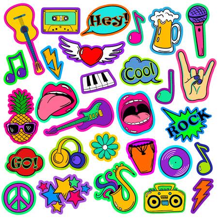 Kleurrijke leuke set van muziek stickers, pictogrammen, emoji, pinnen of patches in cartoon jaren 80-90s komische stijl.