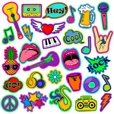 Colorful fun set of music stickers, icons, emoji, pins or patches in cartoon 80s-90s comic style.