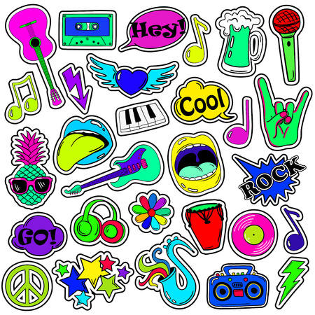 patches: Colorful fun set of music stickers, icons, emoji, pins or patches in cartoon 80s-90s comic style.