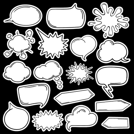 white blank: Black and white funny set of cartoon empty speech bubbles and stickers. Illustration