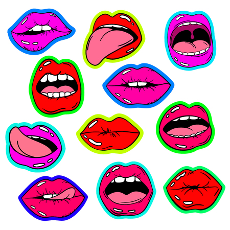 female pink: Colorful fun set of female lips stickers, icons, emoji, pins or patches in cartoon 80s-90s pop comic style. Womans mouth with red and pink lipstick makeup in different emotions. Illustration