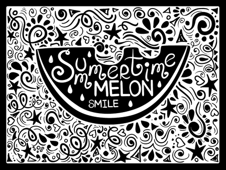 natural backgrounds: Illustration of watermelon silhouette and hand drawn lettering on a pattern background. Creative typography poster with phrase - summertime melon smile.