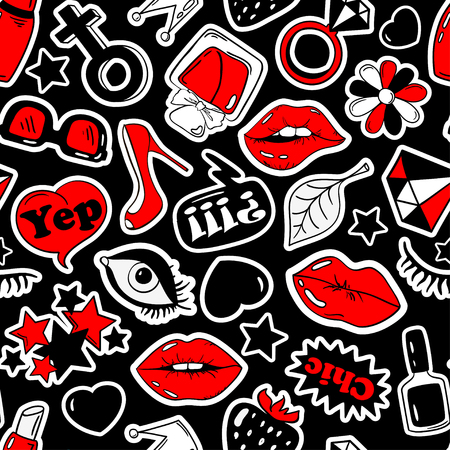 red lips: Black, red and white fun seamless pattern of girls fashion stickers, emoji, pins or patches in cartoon 80s-90s comic style.