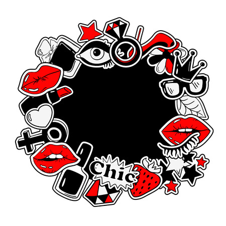 red lips: Black, red and white fun background of girls fashion stickers, icons, emoji, pins or patches in cartoon 80s-90s comic style.