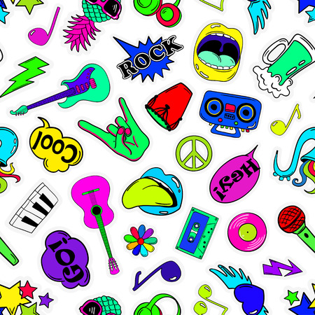 Colorful fun seamless pattern of music stickers, emoji, pins or patches in cartoon 80s-90s comic style. Illustration