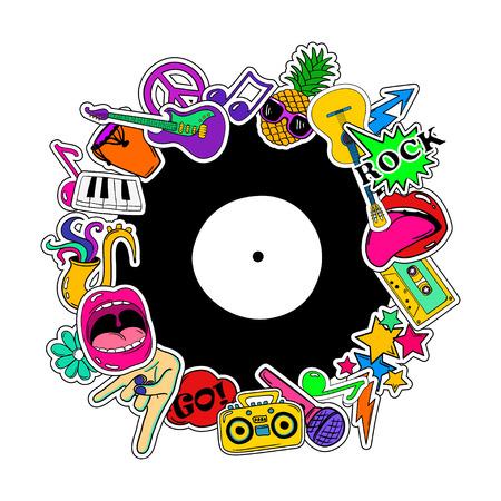 다채로운 음악 배경 음악 스티커, 아이콘, 이모티콘, 핀 또는 만화 80s-90s 만화 스타일에서 패치의 배경.