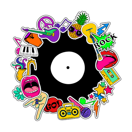 Colorful fun background of music stickers, icons, emoji, pins or patches in cartoon 80s-90s comic style.