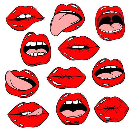 Colorful fun set of female lips stickers, icons, emoji, pins or patches in cartoon 80s-90s pop comic style. Womans mouth with red lipstick makeup in different emotions.