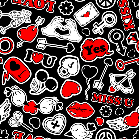 red lips: Colorful fun  pattern of love stickers, emoji, pins or patches in cartoon 80s-90s pop comic style. Happy Valentines day or wedding background.