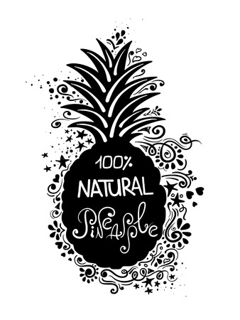summer diet: Hand drawn illustration of isolated black pineapple silhouette with lettering and abstract creative pattern.
