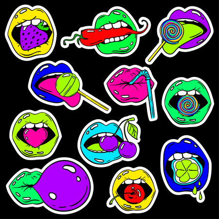 Colorful fun set of female lips stickers, icons, emoji, pins or patches in cartoon 80s-90s pop comic style. Womans mouth with strawberry, cherry, pepper, lemon, bubble gum, candy, lollipop and cocktail straw. Illustration