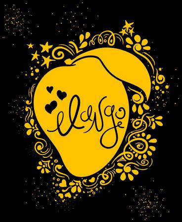 Ręcznie rysowane ilustracja na białym tle mango sylwetka i abstrakcyjny wzór kreatywny.