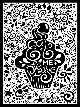 eat me: Illustration of cupcake silhouette and hand drawn lettering on a pattern background. Creative typography poster with phrase - eat me please.