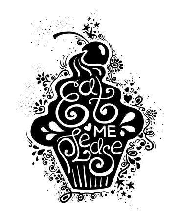 eat me: Illustration of cupcake silhouette and hand drawn lettering. Creative typography poster with phrase - eat me please.