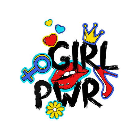 Feminism slogan with hand drawn lettering girl power. Colorful fun girly stickers, patches, pins in cartoon 80s-90s comic style.  向量圖像
