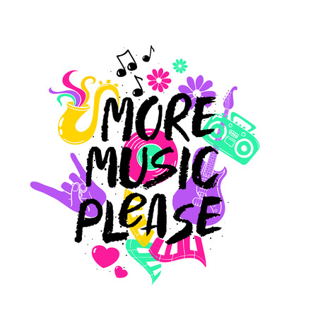 simbolos musicales: More Music Please - inspirational hand drawn brush ink lettering. Funny colorful cartoon musical symbols: guitar, sax, boom box, piano keyboards, vinyl and notes.