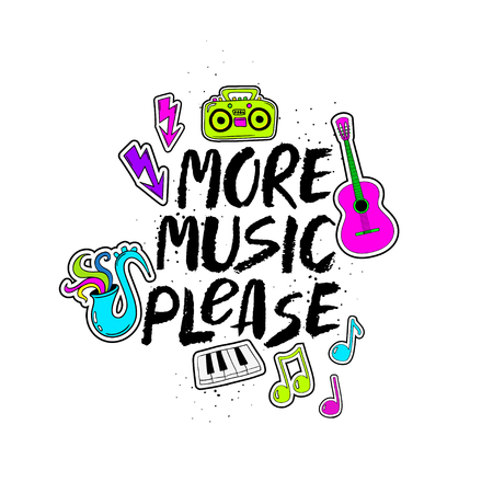 More Music Please - inspirational hand drawn brush ink lettering. Funny colorful cartoon musical stickers: guitar, sax, boom box, piano keyboards and notes.