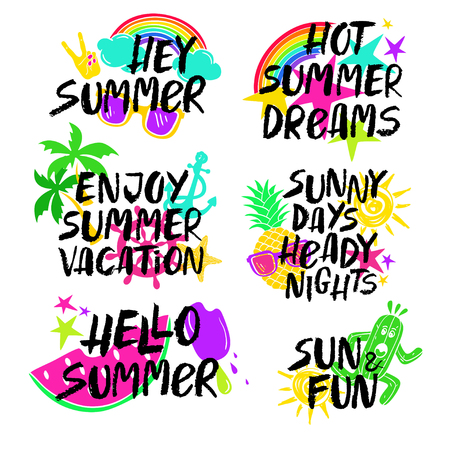 HI: Colorful collection of summer inspirational and motivational saying phrases. Hand drawn brush ink lettering set. Illustration