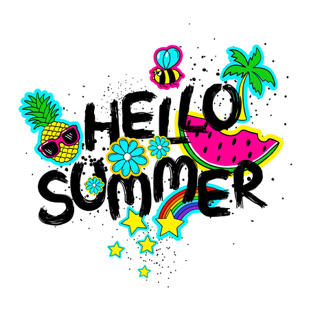 Funny typography card with hand drawn lettering hello summer. Colorful bright stickers, patches, pins in cartoon 80s-90s comic style.