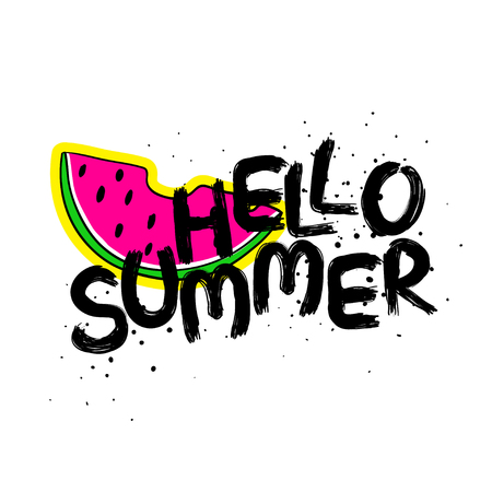 Funny typography card with hand drawn lettering hello summer and watermelon slice sticker.