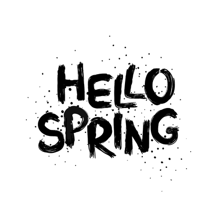 Black funny typography card with hand drawn lettering hello spring.