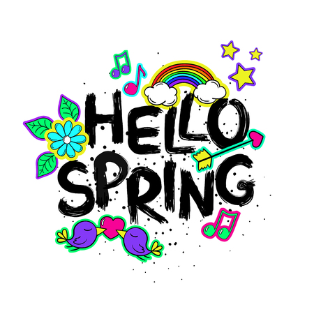 Funny typography card with hand drawn lettering hello spring. Colorful bright stickers, patches, pins in cartoon 80s-90s comic style. Illustration