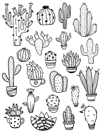Set of isolated black sketch cactus and succulent icons. Houseplant and wild cactus collection.