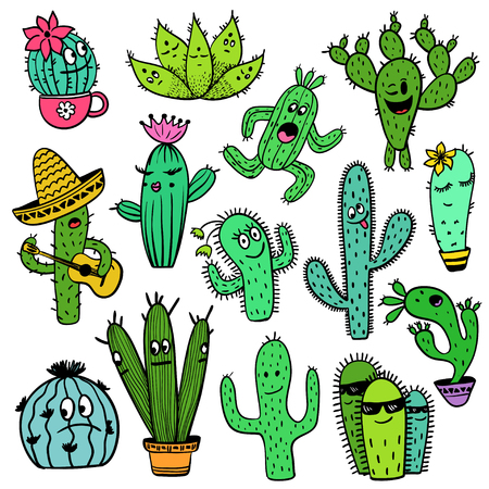 Set of isolated colorful funny cactus and succulent characters. Houseplant and wild cool cartoon cactus collection.