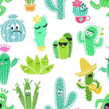 サボテンと多肉植物の面白い漫画のキャラクターのカラフルなシームレス パターン。