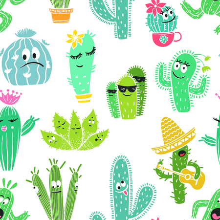Colorful seamless pattern of funny cartoon cactus and succulent characters.
